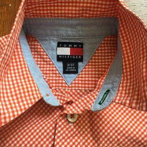 Tommy Hilfiger Shirts & Tops - Tommy Hilfiger orange check shirt excellent sz 3T